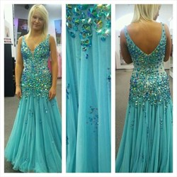 Aqua Blue Luxury Beaded Plunge Neck Backless Long Formal Dress