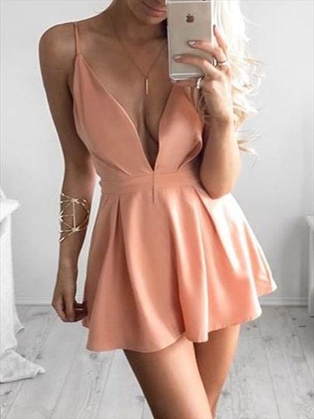 Peach Simple Spaghetti Strap V Neck Short Homecoming Dress
