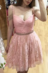 Pink Off The Shoulder Ruched Beaded Lace Short Cocktail Dress
