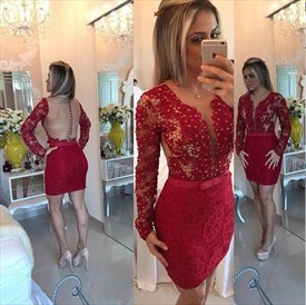 Red Beaded Sheer Back Long Sleeve Lace Short Sheath Homecoming Dress