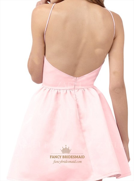 Halter Simple Pink Open Back Short Cocktail Homecoming Dress
