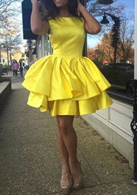 Yellow Ruffled Knee Length Sleeveless Homecoming Dress