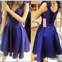 Navy Blue Contrast V Neck Short Dress With Embellishment Straps
