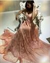 Pink V Neck Cap Sleeve A Line Floor Length Lace Formal Dress