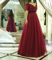 V Neck Burgundy Tulle Ball Gown Formal Dress With Half Sleeves