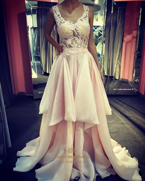 Blush Pink V-Neck Illusion Lace Top High-Low Formal Dresses