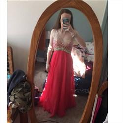 Red V-Neck Sheer Beaded Sleeveless Floor-Length Chiffon Prom Dress