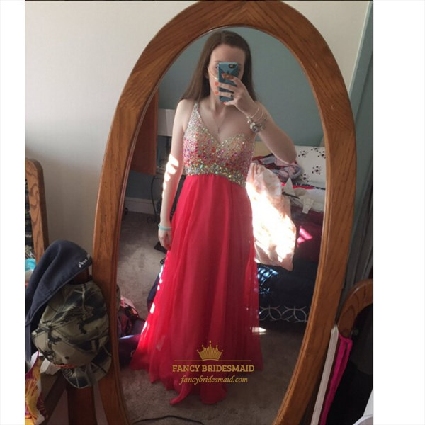 Red V-Neck Sheer Beaded Sleeveless Floor-Length Chiffon Prom Dress