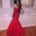 Red Strapless Sweetheart Ruched Mermaid Full Length Prom Dress