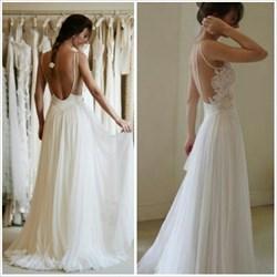Ivory Sheer Lace Bodice A Line Open Back Long Chiffon Wedding Dress