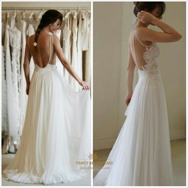 Ivory Sheer Lace Bodice A Line Open Back Long Chiffon Wedding Dress