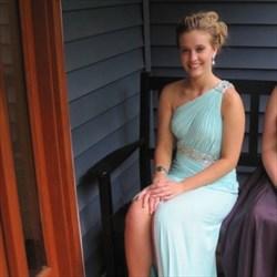 Baby Blue Beaded One Shoulder Front Split Long Chiffon Formal Dress