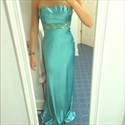 Turquoise Strapless Ruched Beaded Top Long Backless Formal Dress