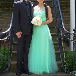 Mint Green Tulle Ball Gown Wedding Dress With Beaded Bodice