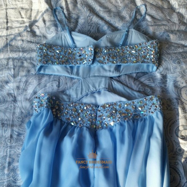 Light Blue Spaghetti Strap Side Split Formal Dress With Beaded Bodice