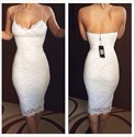 White Sheath Spaghetti Strap Knee Length Lace Homecoming Dress