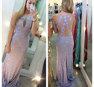 Lilac Beaded Lace Sheer Back Long Formal Dress With Keyhole Front
