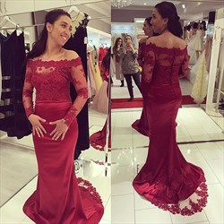 Burgundy Sheer Illusion Lace Bodice Long Sleeve Mermaid Formal Dress