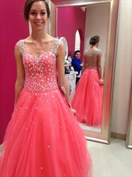 Coral Beaded Embellished Tulle Ball Gown Long Evening Dress