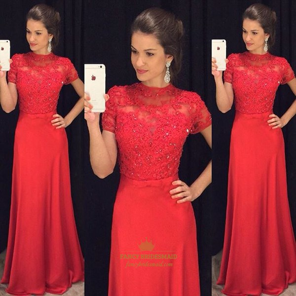 Red Short Sleeve Lace Embellished Bodice Floor Length Prom Dress