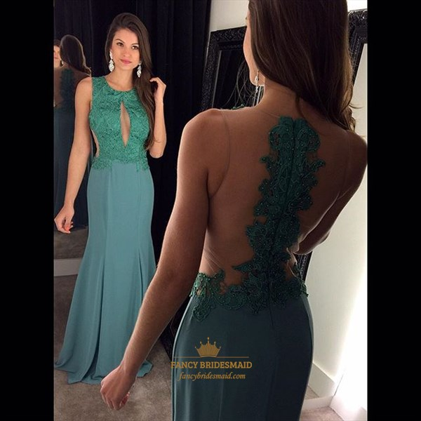 Turquoise Lace Beaded Bodice Sheer Back Prom Dress With Keyhole Front
