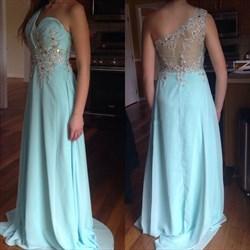 Light Blue One Shoulder Beaded Applique A Line Long Evening Dress