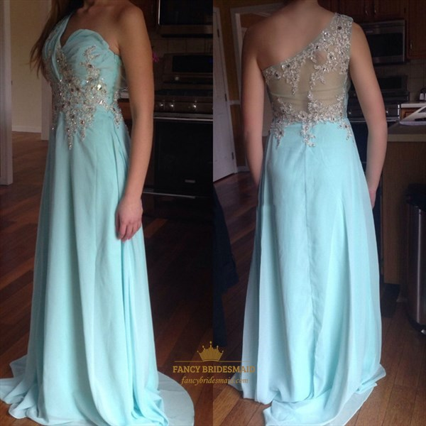Light Blue One Shoulder Beaded Applique A Line Long Evening Dress