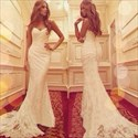 White Strapless Lace Applique Long Mermaid Wedding Dress With Train