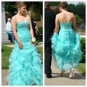 Turquoise Strapless Beaded Ruched Full Length Ruffle Prom Dress