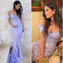 Elegant Lavender Off The Shoulder Lace Mermaid Prom Dress With Train
