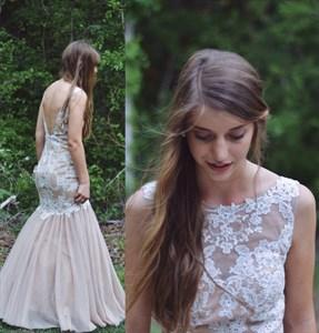 Peach Applique Open Back Full Length Mermaid Formal Dress