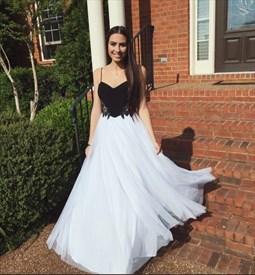 White And Black Spaghetti Strap Embellished Long Formal Dress