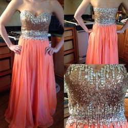 Coral Strapless Sequin Beaded Bodice Floor Length Evening Dress
