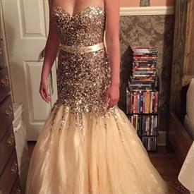 Luxury Ivory Strapless Beaded Mermaid Tulle Long Evening Dress