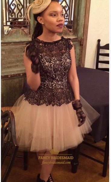Peach Lace Embellished Bodice Knee-Length Homecoming Dress