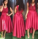 Red V Neck Lace Bodice Tea Length High Low Bridesmaid Dress