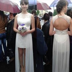 White Beaded Open Back Short Sheath Wedding Dress With Sheer Overlay