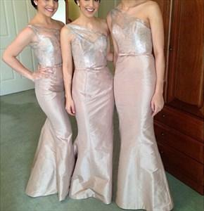 Pink One Shoulder Embellished Top Full Length Sheath Bridesmaid Dress