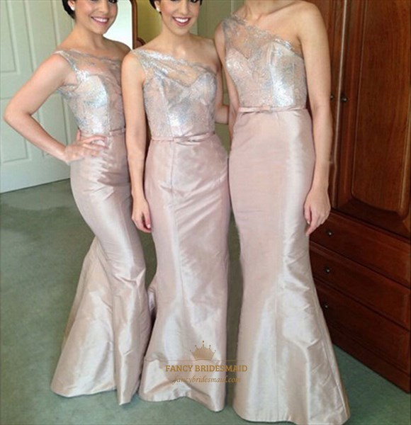 Pink One Shoulder Embellished Top Full Length Sheath Bridesmaid Dress
