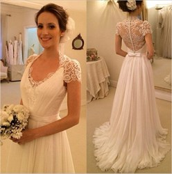 Ivory Lace Top Cap Sleeve Sheer Back A Line Chiffon Wedding Dress