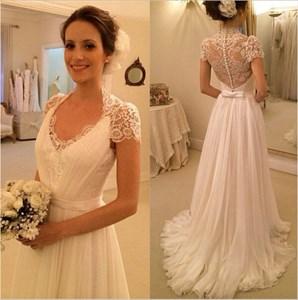 Ivory Lace Top Cap Sleeve Sheer Back A Line Chiffon Wedding Dress