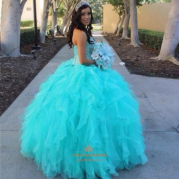 Turquoise Strapless Beaded Top Ball Gown Ruffle Long Wedding Dress