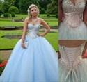 Light Blue Strapless Sequin Beaded Bodice Ball Gown Wedding Dress