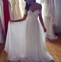 Ivory Simple Off The Shoulder Empire Ruched Long Chiffon Wedding Dress