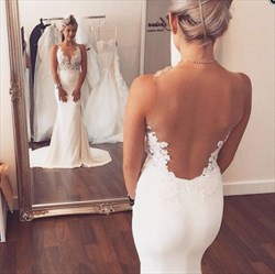 Ivory Lace Applique Open Back Sheath Chiffon Wedding Dress With Train