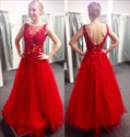 Red Illusion Neckline Sheer Lace Applique Top Backless Prom Gown