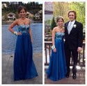 Royal Blue Strapless Beaded Bodice Empire Waist Long Prom Dress