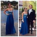 Royal Blue Strapless Beaded Bodice Empire Waist Long Prom Dress