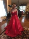 Red Strapless Embellished Floor Length Ball Gown Evening Dress