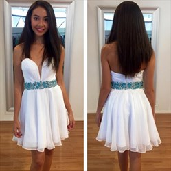 White Strapless Short Chiffon Homecoming Dress With Beaded Waist